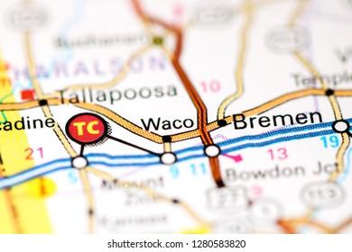 Waco. Georgia. USA on a map