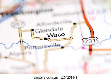 Waco. Indiana. USA on a geography map