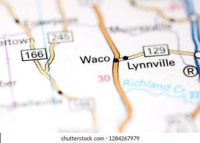 Waco. Tennessee. USA on a map