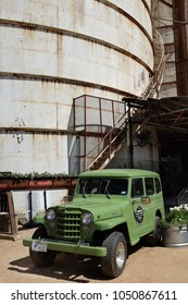 WACO, TEXAS - MARCH 19, 2018:  1953 Willys Wagon Jeep. The restored vehicle is on display at The Silos at Magnolia Market.