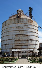 WACO, TEXAS - MARCH 19, 2018: Silo seen from the Seed Shed at Magnolia Market . The shop is owned by Chip and Joanna Ggaines stars of HGTVs Fixer Upper.