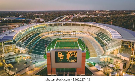 Waco, Texas - November 15, 2019:  McLane stadium prepares for College Gameday ahead of the 12th ranked Baylor Football Team's home rivalry game against the Oklahoma Sooners.
