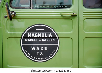 WACO, Texas / United States - April 1, 2019, Closeup of old Jeep at Magnolia Market and Garden owned by Chip and Joanna Gaines from the HGTV show Fixer Upper
