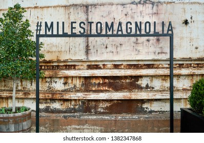 WACO, Texas / United States - April 1, 2019, Silo with sign Miles to Magnolia hashtag from the HGTV show Fixer Upper