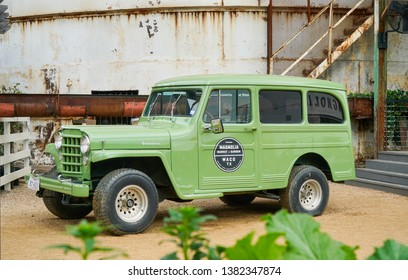 WACO, Texas / United States - April 1, 2019, Old Jeep at Magnolia Market owned by Chip and Joanna Gaines from the HGTV show Fixer Upper