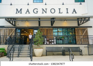 WACO, Texas / United States - April 1, 2019, Exterior store front of Magnolia Market owned by Chip and Joanna Gaines from the HGTV show Fixer Upper