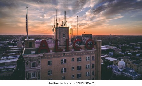 Waco, Texas, United States - November 19, 2019: The Iconic Alico Building represents the most historic figure of the Waco, Texas skyline.