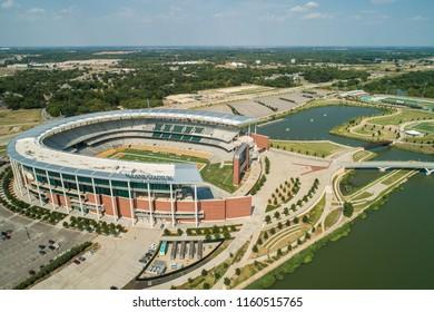 WACO, TEXAS, USA - AUGUST 1, 2018: Aerial photo McLane Stadium Baylor University Waco Texas