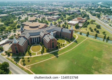 WACO, TEXAS, USA - AUGUST 1, 2018: Aerial image Waco Texas Baylor University college campus