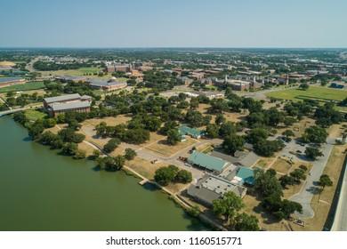 WACO, TEXAS, USA - AUGUST 1, 2018: Aerial drone photo of Baylor University Waco Texas