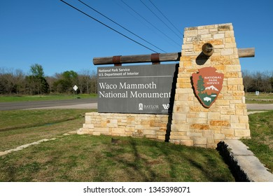 Waco, Texas / USA - March 13 2019: Sign at the entrance of the Waco Mammoth National Monument in Waco, Texas.
