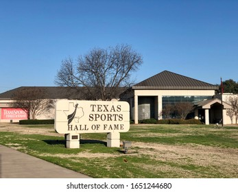 Waco, TX / USA - February 16 2020: Exterior of the Texas Sports Hall of Fame in Waco Texas