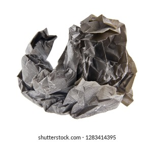wad of crumpled gray paper isolated on white background