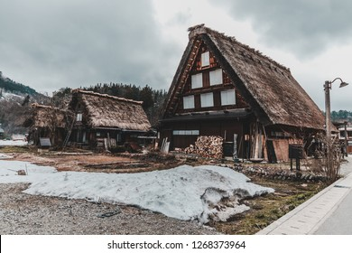 Wada House in Shirakawa-go, one of the world herritage site, during the early spring with snow melting