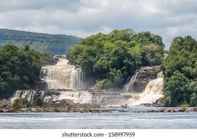 Wadaima falls in the lagoon of Canaima national park - Venezuela, Latin America