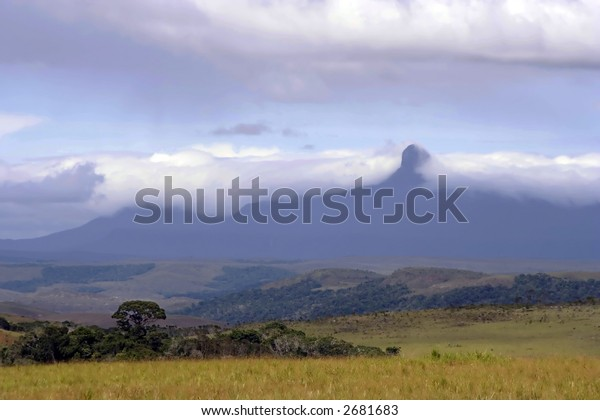 Wadakapiapue Tepuy covered in clouds with savannah in foreground.  La Gran Sabana, Canaima National Park, Venezuela