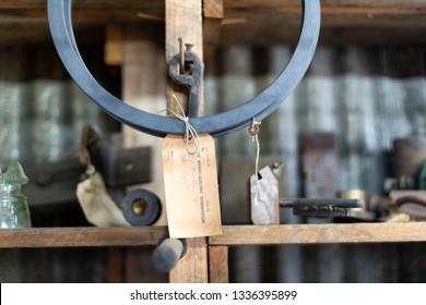 Waddamana, Tasmania, Australia, October 25, 2103: Industrial workshop items on display inside the Waddamana Hydro Electric Power Station Museum in the central highlands of Tasmania, Australia