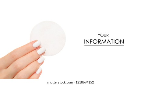 Wadded cotton pads in a hand pattern on a white background isolation