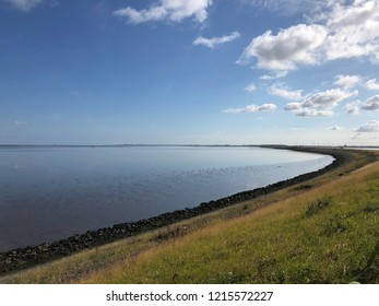 The wadden sea and afsluitdijk in The Netherlands