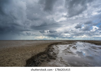 Wadden Sea on the North Sea at Wremen at low tide
