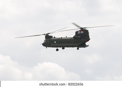 WADDINGTON, ENGLAND, UK - JULY 2: Chinook HC2 from No.18 Squadron at Waddington International Air Show on July 2, 2011 in Waddington, England, UK.