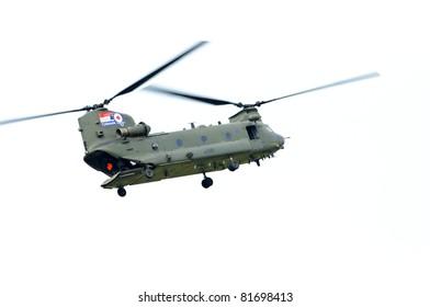 WADDINGTON, ENGLAND, UK - JULY 3: Chinook HC2 from No.18 Squadron at Waddington International Air Show on July 3, 2011 in Waddington, England, UK.