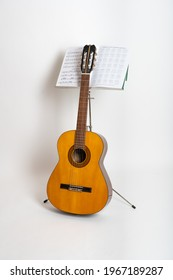 Waddinxveen, Netherlands, april 2021. There is sheet music on the stand to make gitar music.