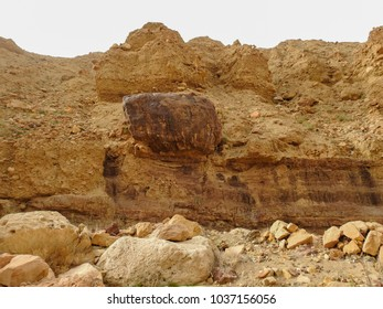 Wadi Ad Dardour in Jordan. Valley of relict river. Biblical places near the Dead Sea. Wild nature