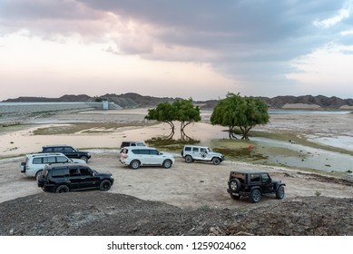 Wadi Al Qor, Sharjah, United Arab Emirates, December 14, 2018, road trip from Wadi Al Qor to Buraq Dam in the mountains, highest place of the road is 800 meters