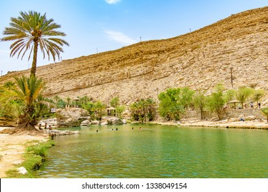 Wadi Bani Khalid, Oman - August 14, 2018: Wadi Bani Khalid in Oman. It is located about 203 km from Muscat and 120 km from Sur.