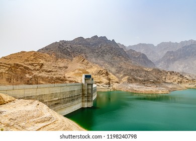Wadi Dayqah Dam in Qurayyat, Oman. It is located about 70 km southeast of the Omani capital Muscat.