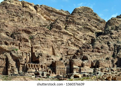 WADI MUSA, JORDAN - MARCH 06: Unidentified tourists in UNESCO World Heritage site of Petra with royal tombs, a preferred tourist attraction in Middle East, March 06, 2019 in Wadi Musa, Jordan