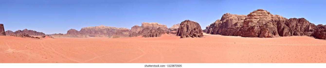 Wadi Rum desert, Jordan. Panoramic view.