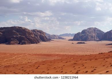 Wadi Rum desert in Jordan. Panoramic view of the red dunes.