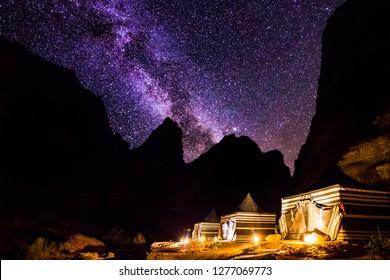 Wadi Rum desert landscape at night, Jordan.