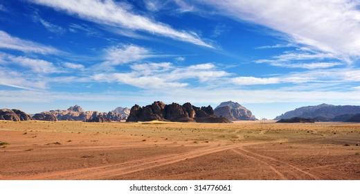 Wadi Rum desert landscape at sunset time, Jordan