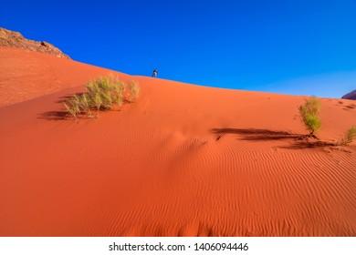 Wadi Rum desert with red sand in Jordan
