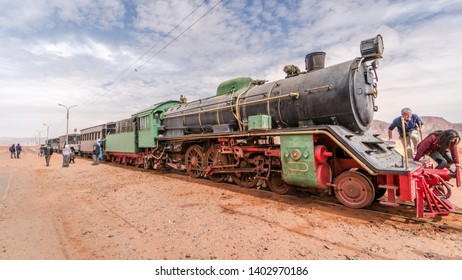 WADI RUM, JORDAN - APRIL 6, 2019: Vintage train from the time of Lawrence of Arabia exhibited in Wadi Rum.