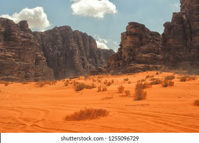 Wadi Rum, Jordan. Desert sand dunes and mountains. Middle East landscape.