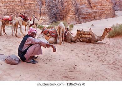 WADI RUM, JORDAN - JUNE 14, 2016: A Bedouin camel herder rests near his herd of camels in one of the siqs of the Wadi Rum desert in Jordan.