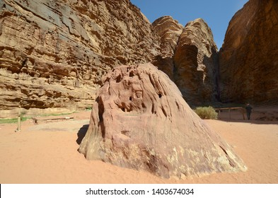 WADI RUM, JORDAN - MARCH 07, 2019 rock with portrait of Lawrence of Arabia in Barrah Siq - first meeting point with Lawrence and former King Abdullah in the UNESCO World heritage site in Middle East