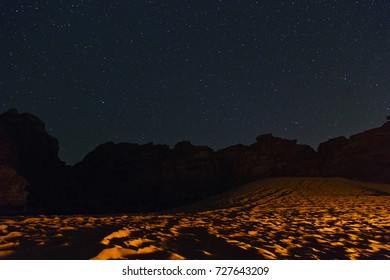 Wadi Rum at night with fire light