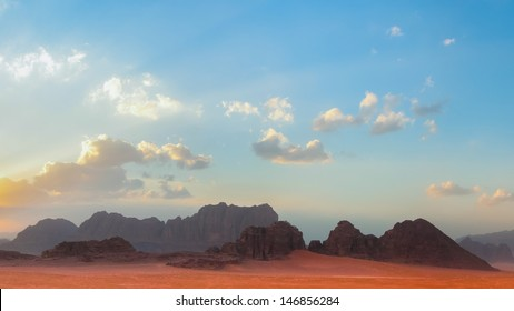 Wadi Rum, a sandstone valley in southern Jordan. Filming location of Lawrence of Arabia, Red Planet, Transformers.