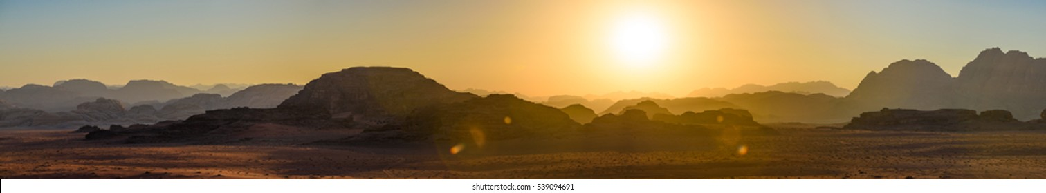 Wadi Rum at sunset, panorama view