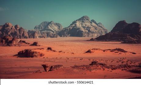 Wadi Rum valley in Jordan