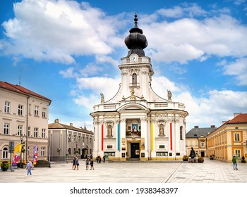 Wadowice, Poland - August 27, 2020: Papal basilica of Presentation of Blessed Vergin Mary at Rynek market square, known as Pope John Paul II square in Lesser Poland region