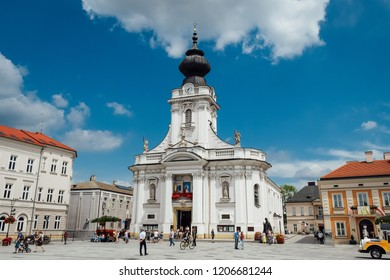 Wadowice / Poland - July 7.2018: Basilica of the Holy Mary in the main square Wadowice, city where pope John Paul II was born.