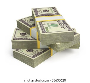 wads of dollars. 3d image. Isolated white background.