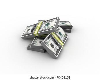 wads of dollars. 3d image. Isolated white background.