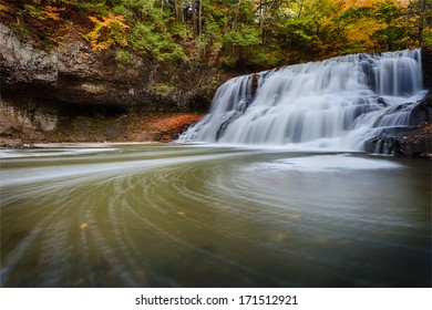 Wadsworth Falls State Park during Autumn. Horizontal.